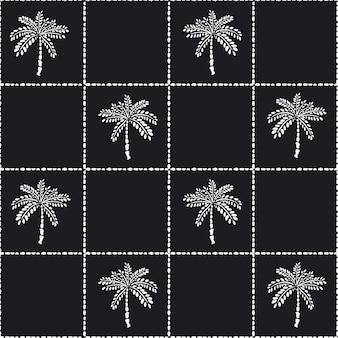 Palmeira tropical desenhada de mão moderna com verificação de grade de mão desenhada