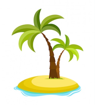Palmeira tropical na ilha com ilustração vetorial de ondas do mar isolada