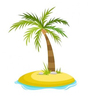 Palmeira tropical na ilha com ilustração vetorial de ondas do mar