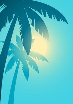 Palmeiras com fundo de luz solar