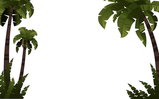 Palmeiras com plantas tropicais modelo ilustração vetorial plana no fundo branco
