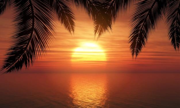 Palmeiras contra o pôr do sol céu