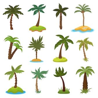 Palmeiras de desenho animado no conjunto de vetor de ilhas exóticas tropicais