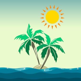 Palmeiras e elementos de design do sol