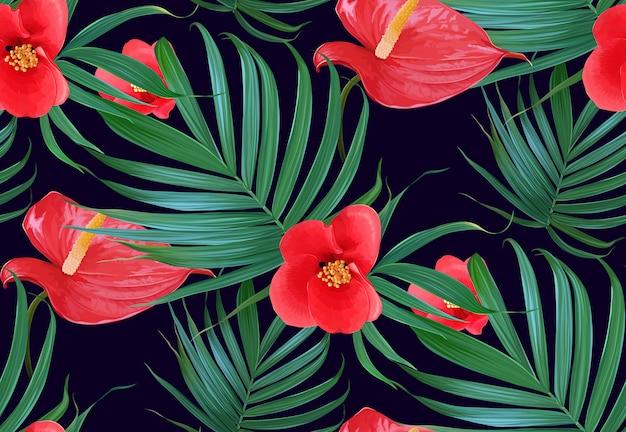 Palmeiras e flores tropicais de vetor folhas padrão sem emenda.