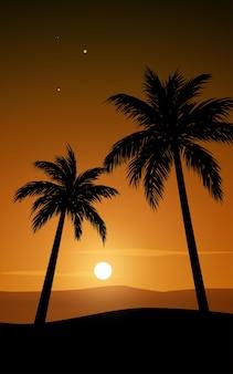 Palmeiras em silhueta de fundo com pôr do sol laranja