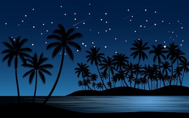 Palmeiras na praia com céu estrelado
