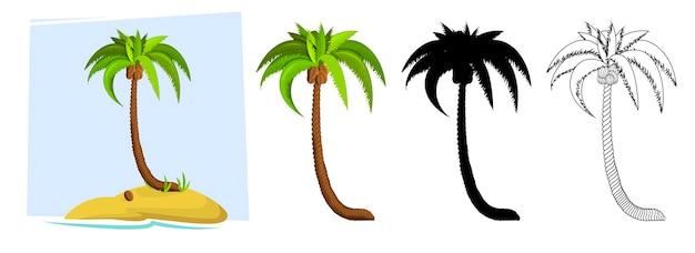 Palmeiras tropicais ilustração de uma palmeira com silhuetas negras e contornos de contorno