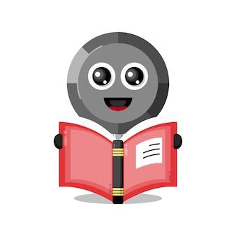 Pan lendo um livro mascote de personagem fofo