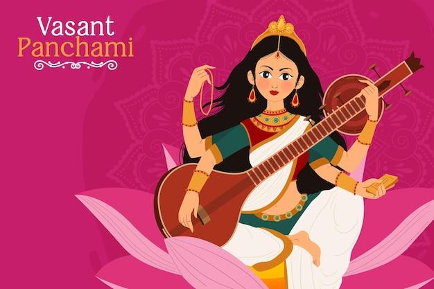 Panchami vasant desenhado à mão