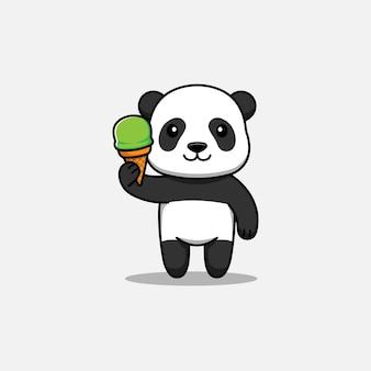 Panda adorável carregando sorvete