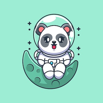 Panda astronauta fofo sentado na lua