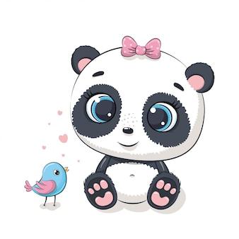 Panda bebê fofo com pássaro. ilustração