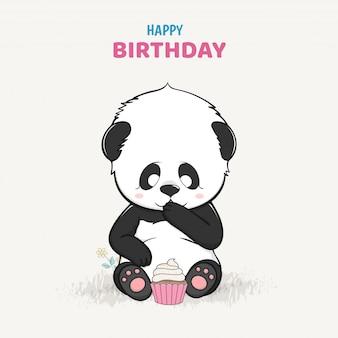 Panda bebê fofo com um vetor de mão desenhada de desenhos animados de bolo