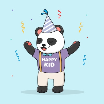 Panda bonito aniversário com chapéu