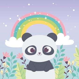 Panda bonito arco-íris animal flores ramo frase inspiradora dos desenhos animados