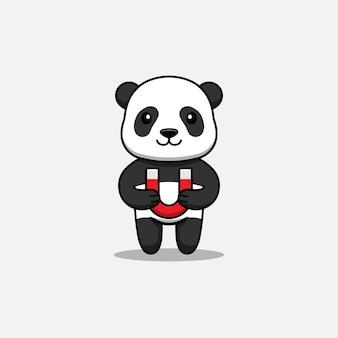 Panda bonito carregando um ímã