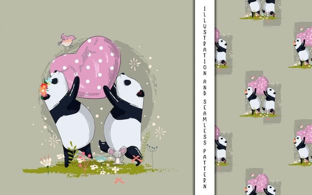 Panda bonito casal com ilustração de coração para crianças