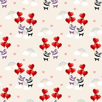 Panda bonito casal e coração balão sem costura padrão.