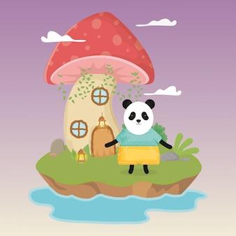 Panda bonito com abajur e cogumelo casa fantasia conto de fadas