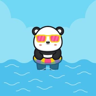 Panda bonito com anel de natação cartoon ilustração animal conceito de verão