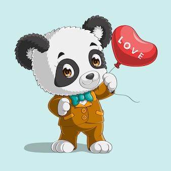 Panda bonito com balão de coração mão desenhada