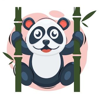 Panda bonito com desenho de mascote de bambu
