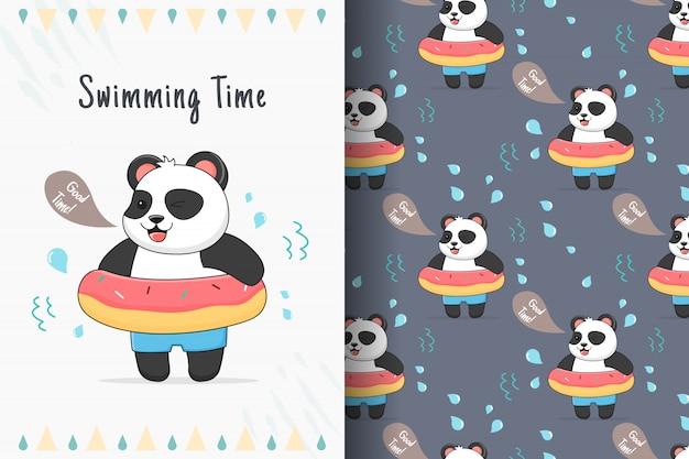 Panda bonito com padrão sem emenda de rosquinha de borracha e cartão