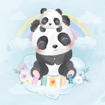 Panda bonito com panda bebê sentado em uma nuvem
