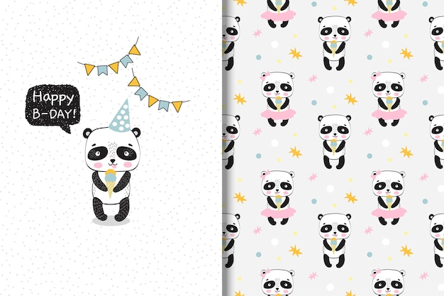 Panda bonito com sorvete. cartão de aniversário e padrão sem emenda.
