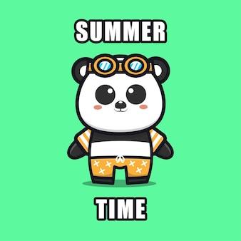 Panda bonito com um tema de verão ilustração animal conceito de verão
