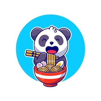 Panda bonito comendo macarrão ramen com ilustração do ícone dos desenhos animados de pauzinho. conceito de ícone de comida animal isolado. estilo flat cartoon