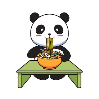 Panda bonito comendo macarrão