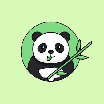 Panda bonito comer folha e segurando a ilustração em vetor simples contorno bambu haste