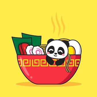 Panda bonito dentro de tigela de ramen