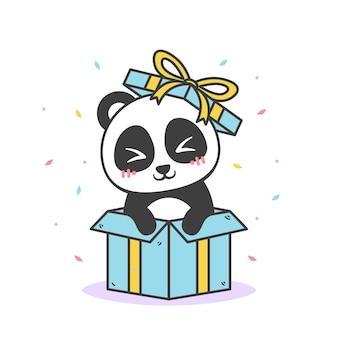 Panda bonito dentro de um presente de aniversário