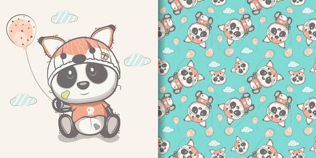 Panda bonito desenhado de mão com conjunto padrão sem emenda