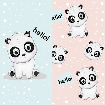 Panda bonito desenhado de mão com o conjunto padrão