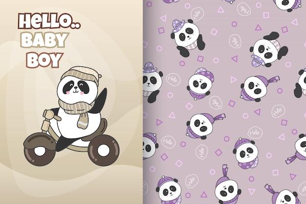 Panda bonito desenhado de mão com padrão vector set