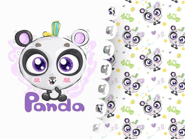 Panda bonito desenhado de mão com padrão