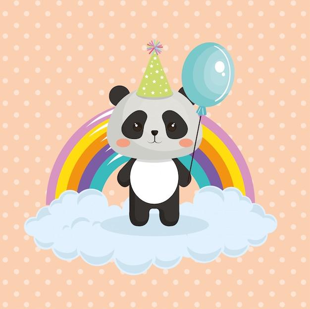 Panda bonito do urso com o cartão de aniversário do kawaii do arco-íris