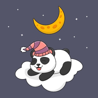 Panda bonito dormindo na nuvem sob a lua