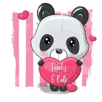 Panda bonito dos desenhos animados com ilustração vetorial de coração