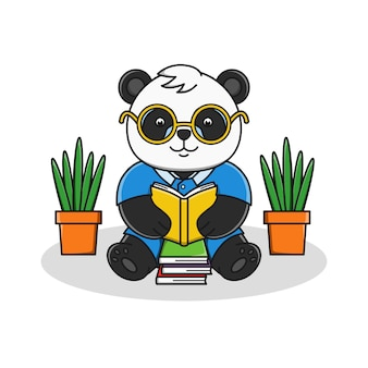 Panda bonito dos desenhos animados, lendo a ilustração do livro