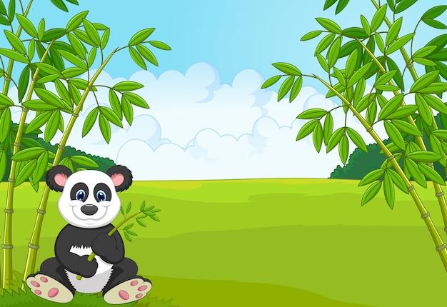 Panda bonito dos desenhos animados na floresta de bambu