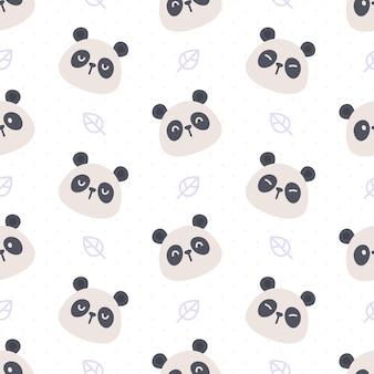 Panda bonito e folha sem costura de fundo