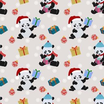 Panda bonito e presente com padrão de chapéu de natal.