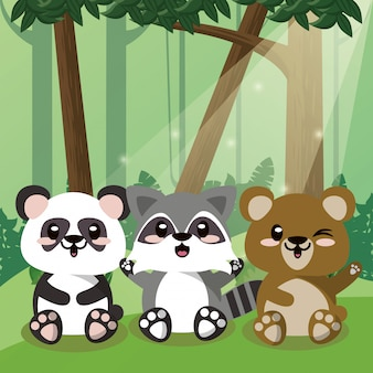Panda bonito e urso com guaxinim