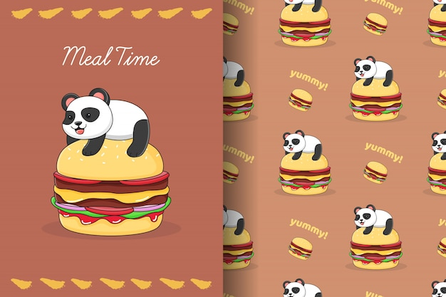 Panda bonito em cima de um padrão sem emenda de hambúrguer e cartão
