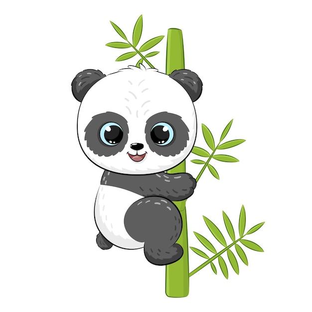 Panda bonito em uma árvore. ilustração em vetor de um desenho animado.